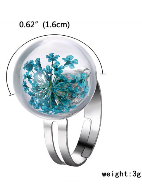 chic Glass Dry Floral Ball Ring - BLUE ONE-SIZE Mobile