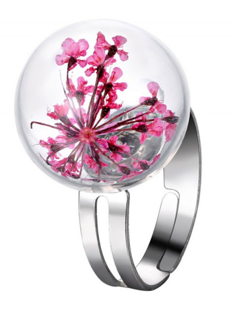 fancy Glass Dry Flower Ball Ring - PINK ONE-SIZE Mobile