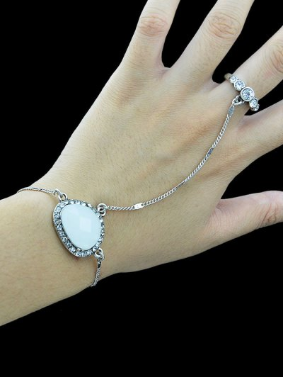Faux Opal Rhinestone Bracelet With Ring - SILVER  Mobile