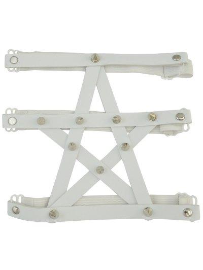 Pentagram Faux Leather Leg Chain - WHITE  Mobile