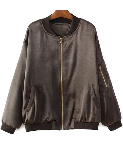 Fitted Zipped Bomber Jacket - DEEP BROWN M Mobile