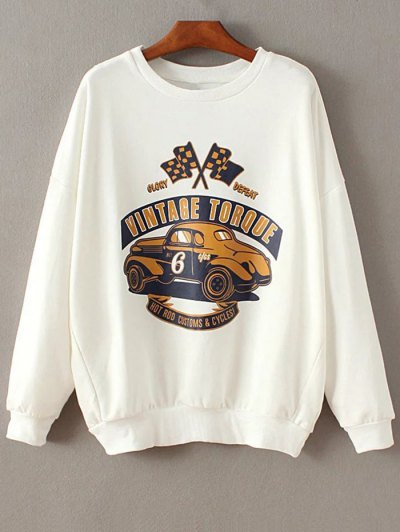 Drop Shoulder Sleeve Sweatshirt - White