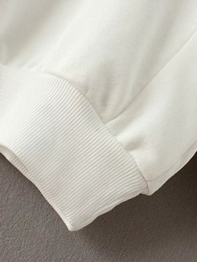 Drop Shoulder Sleeve Sweatshirt - WHITE M Mobile