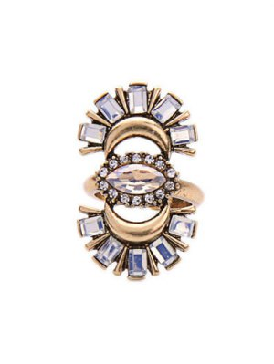 Rhinestone Crescent Ring - Golden