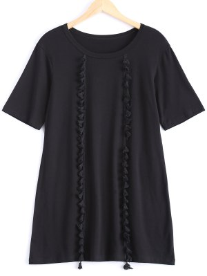 Tassels Half Sleeve T-Shirt Dress - Black