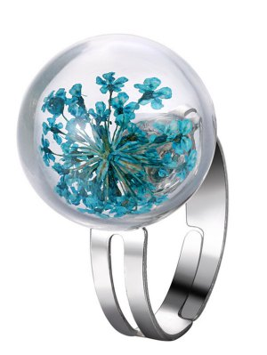 Glass Dry Floral Ball Ring - Blue