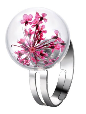 Glass Dry Flower Ball Ring - Pink