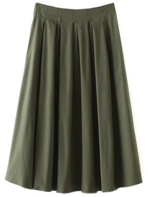A Line Midi Skirt - Army Green
