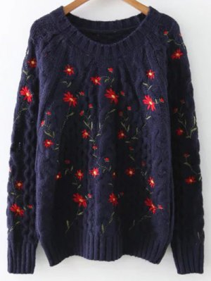 Floral Suéter Bordado - Teal
