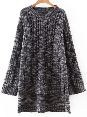 Uneven Hem Chunky Sweater - White And Black