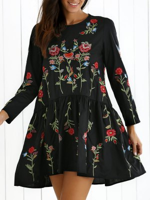 Floral Embroidered Drop Waist Dress - Black