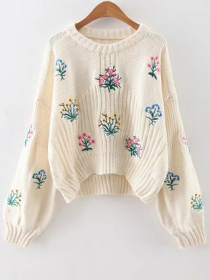 Embroidered Chunky Sweater - Off-white