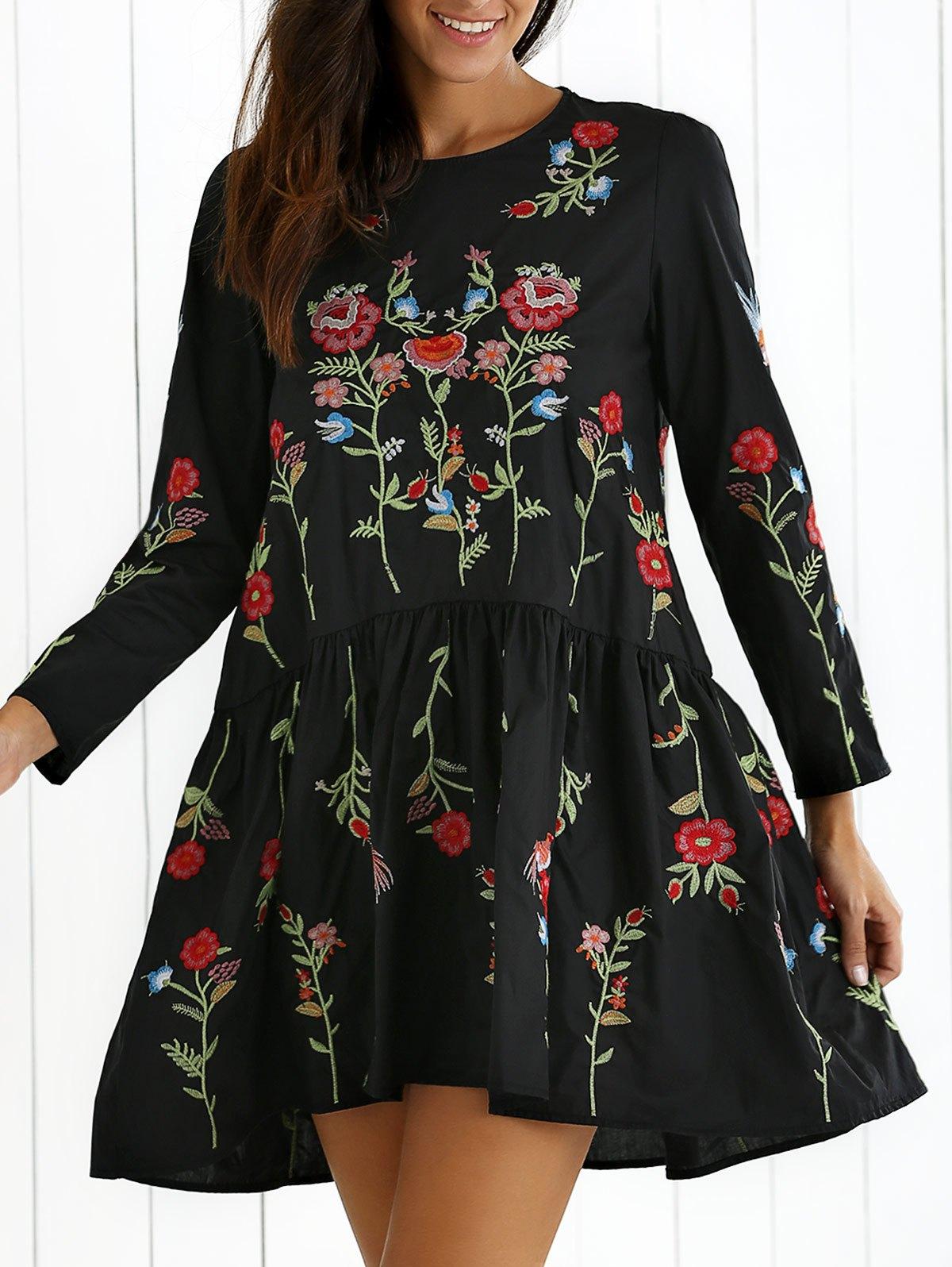 Drop Waist Floral Embroidered Dress