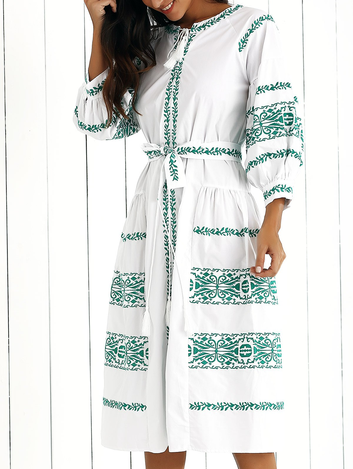 Embroidered V Neck Lantern Sleeve Belted Dress