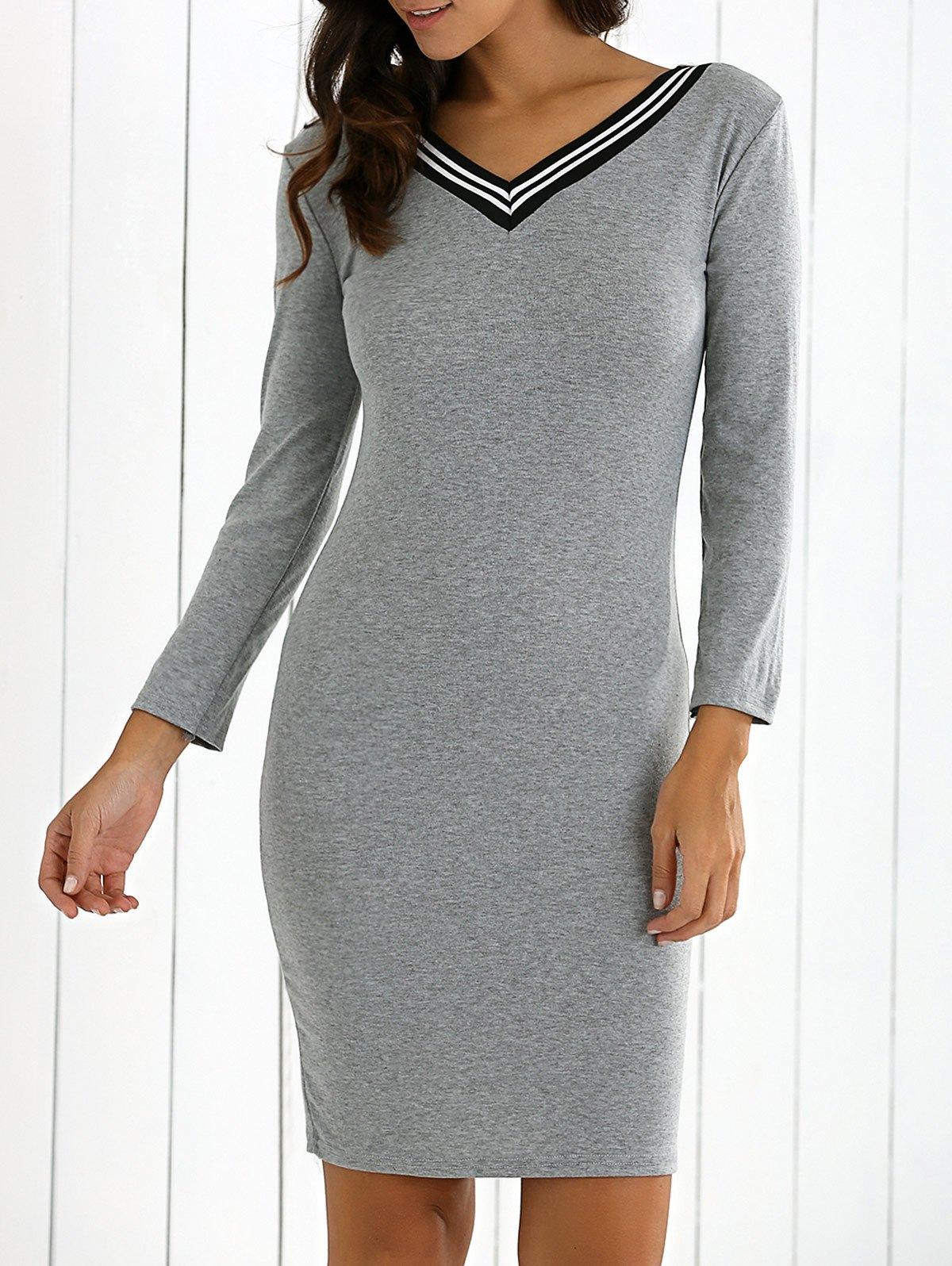 Long Sleeves V-Neck Sweater Dress