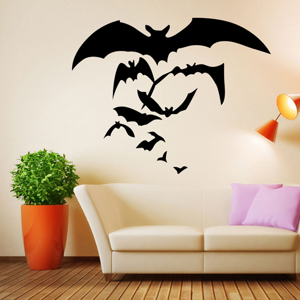 Halloween Bat Pattern Removable Waterproof Room Wall StickerAccessories<br><br><br>Color: BLACK