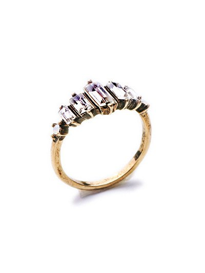 Rectangle Faux Crystal Ring