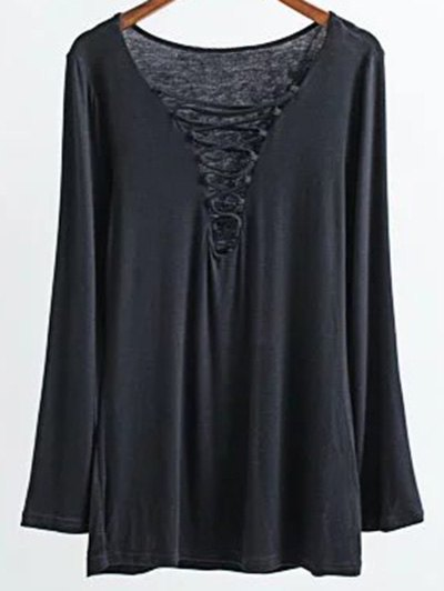 Long Sleeves Lace Up T-Shirt - BLACK M