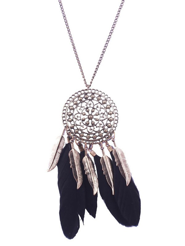 Alloy Floral Round Leaf Feather Necklace
