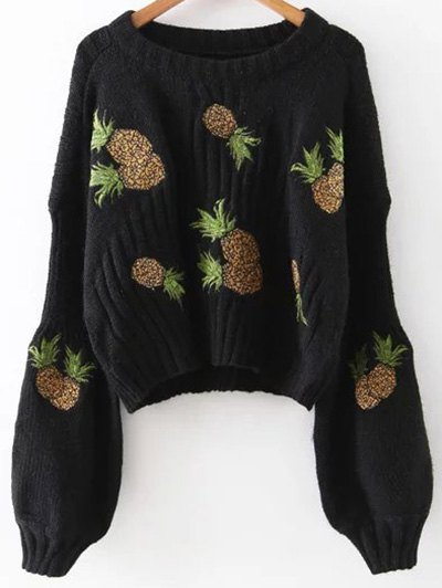 Pineapple Embroidered Sweater