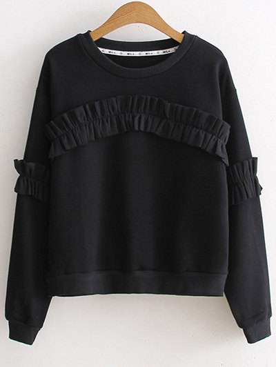 Round Collar Long Sleeve Sweatshirt