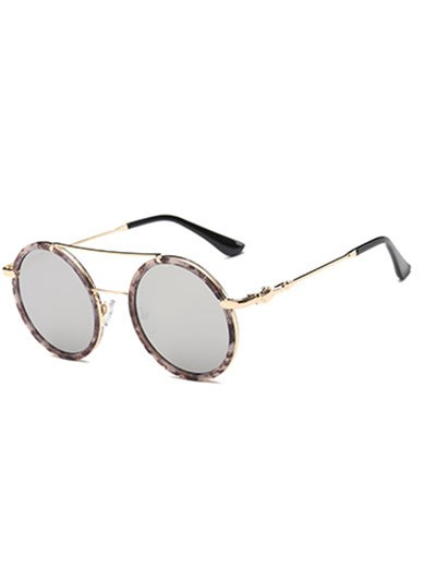 Image of Cross-Bar Marble Round Sunglasses