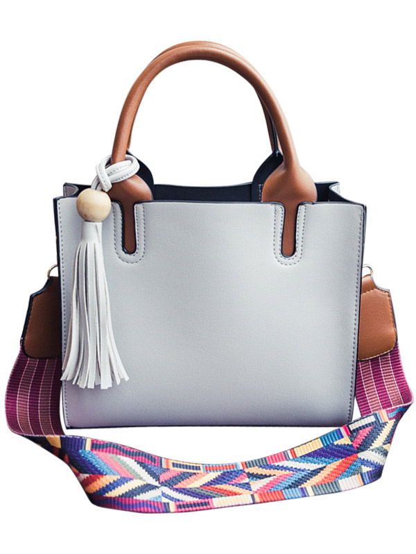 Tassels Color Block Bead Tote Bag Image