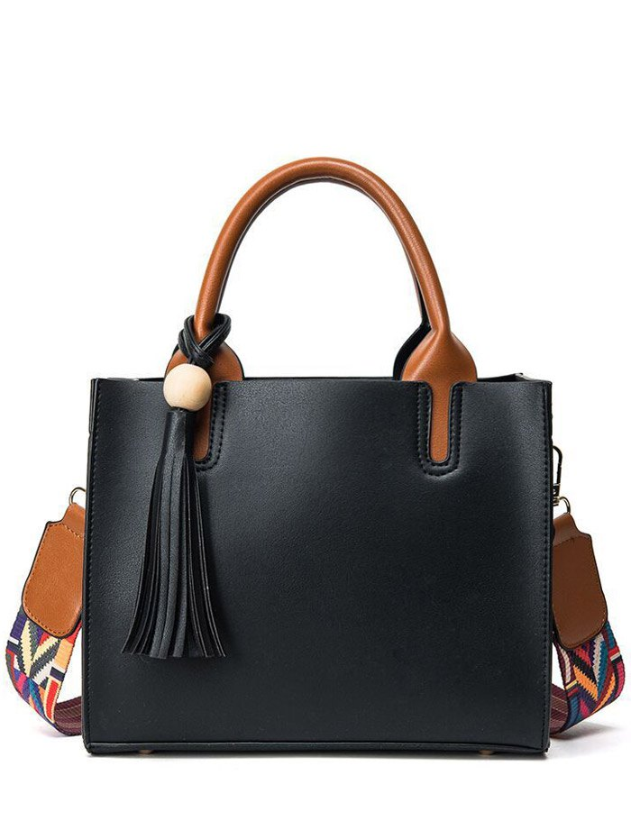 Color Block Tassels Tote Bag
