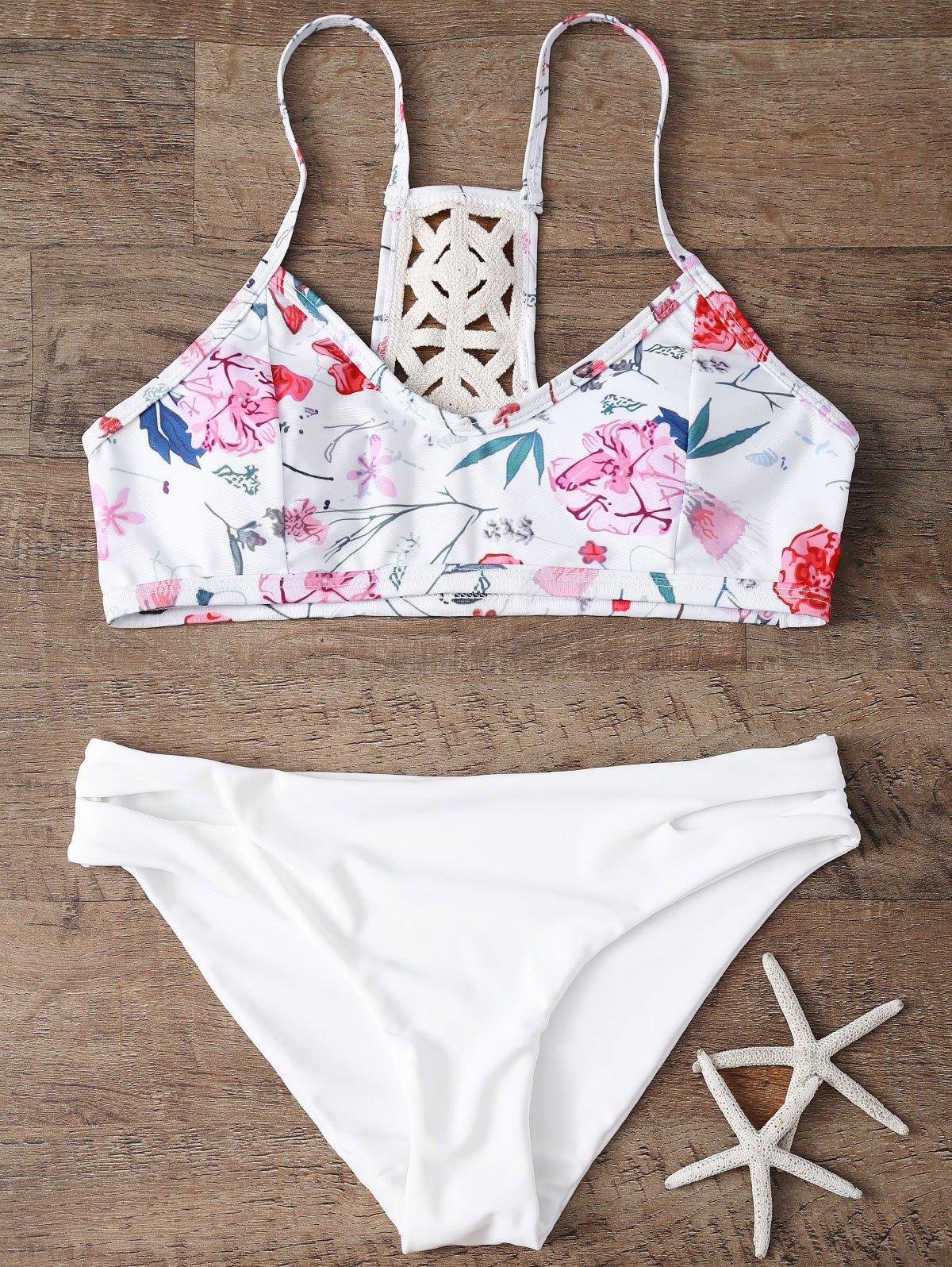 Floral Print Bikini Set With Crochet Back