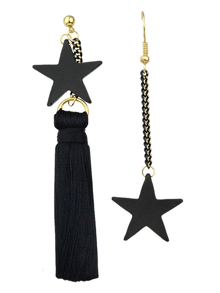 Asymmetric Chain Tassel Pentagram Earrings