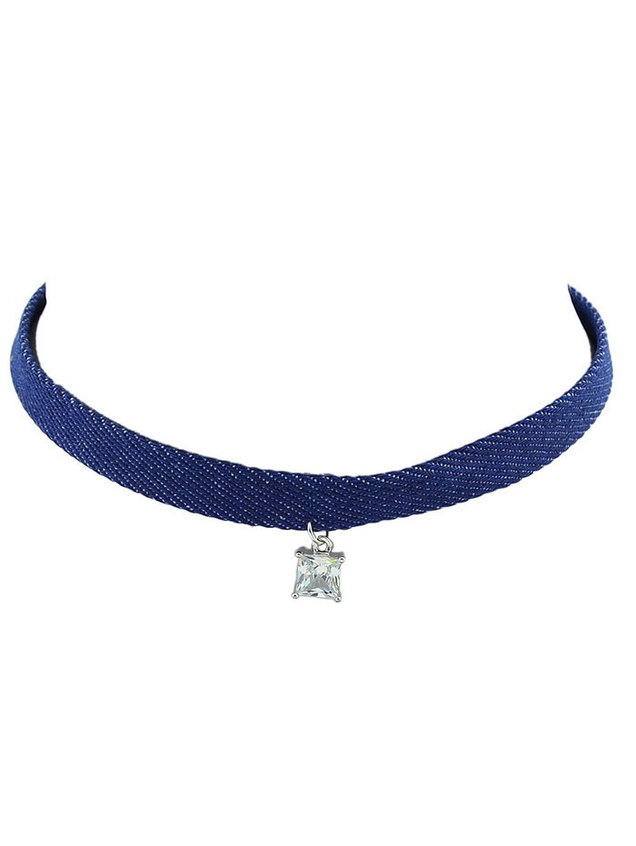Rhinestone Faux Crystal Square Choker NecklaceAccessories<br><br><br>Color: BLUE