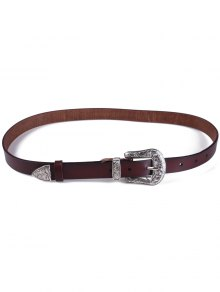 Retro Carve Pin Buckle Belt - Coffee