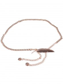 Feather Metal Waist Chain - Golden