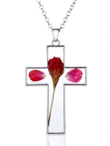 Glass Dry Floral Cross Pendant Necklace