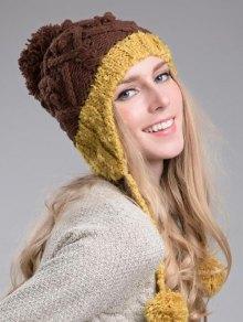 Buy Hemp Flowers Knitted Beanie - YELLOW
