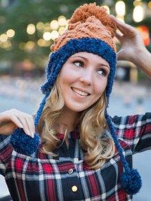 Buy Hemp Flowers Knitted Beanie - DEEP BLUE