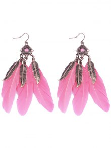 Geometric Alloy Leaf Feather Drop Earrings