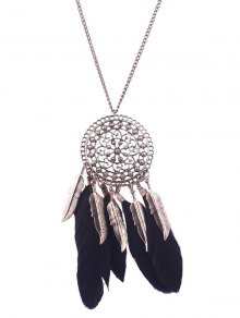 Alloy Round Floral Leaf Feather Necklace - Black