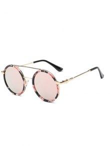 Cross-Bar Flower Round Sunglasses - Pink