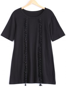 Tassels Half Sleeve T-Shirt Dress - Black M