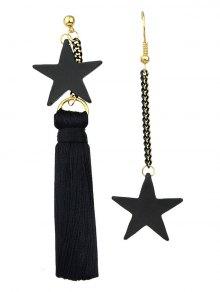 Asymmetric Tassel Chain Pentagram Earrings - Black