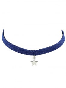 Faux Crystal Rhinestone Pentagram Choker Necklace