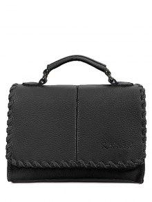 Covered Closure PU Leather Weaving Crossbody Bag - Black