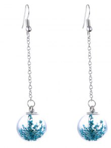 Glass Dry Floral Drop Ball Earrings