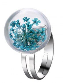 Glass Dry Floral Ball Ring