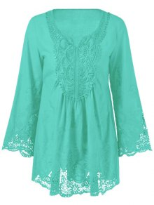 Lace Trim Tunic Blouse - Mint Green Xl