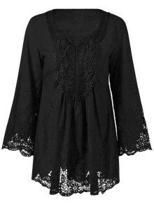 Buy Lace Trim Plus Size Tunic Blouse - BLACK 5XL