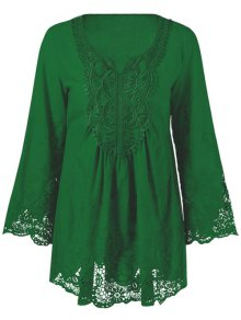 Lace Trim Tunic Blouse - Emerald 2xl