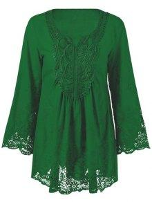 Lace Trim Tunic Blouse - Emerald Xl