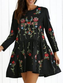 Floral Embroidered Drop Waist Dress - Black
